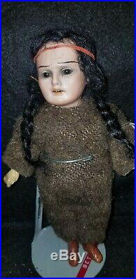 Antique ARMAND MARSEILLE American Indian Native Doll Bisque Compo Germany 8/0