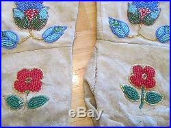 Antique Beaded Elk Hide Plateau Style Guantlet Gloves Native American Yakima