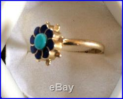 Antique SOLID 14k Yellow Gold Native American Turquoise Lapis Ring