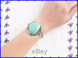 Antique Vintage Native Navajo Pawn Sterling Silver Faux Turquoise Cuff Bracelet
