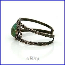 Antique Vintage Native Navajo Pawn Sterling Silver Green Turquoise Cuff Bracelet