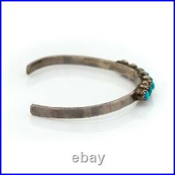 Antique Vintage Native Navajo Sterling Silver Turquoise Baby Cuff Bracelet 3.3g