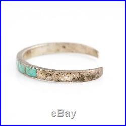 Antique Vintage Native Zuni Sterling Silver Turquoise Panel Inlay Cuff Bracelet