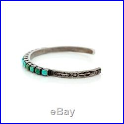 Antique Vintage Sterling Coin Silver Native Navajo Row Ajax Turquoise Bracelet