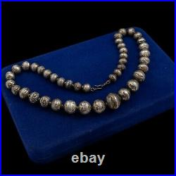 Antique Vintage Sterling Silver Native Navajo Pearl Bench Bead Necklace 37.8g