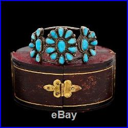 Antique Vintage Sterling Silver Native Navajo Turquoise Pawn Cuff Bracelet
