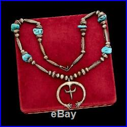 Antique Vintage Sterling Silver Native Navajo Turquoise Squash Blossom Necklace