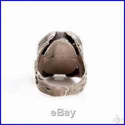 Antique Vintage Zuni Pawn Sterling Silver Greek Egyptian Mens Inlay Ring Sz 9.75