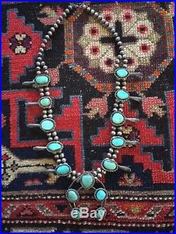 Antique Vintage navajo Squash Blossom Necklace