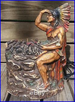 Antique Vtg Art Deco Chalkware Native American Indian Chief Radio TV Table Lamp