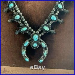 Antique or Vintage Navajo Turquoise Silver Squash Blossom Necklace + Frame