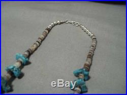 Astounding Vintage Navajo Green Turquoise Sterling Silver Necklace Old