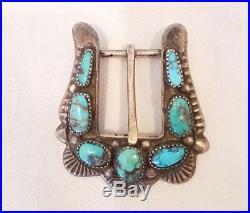 Attr. HORACE IULE Vintage Sand Cast Sterling Silver Bisbee Turquoise Buckle Zuni