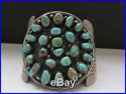 Awesome Old Pawn Vintage NAVAJO Sterling Royston Turquoise Cluster Cuff Bracelet