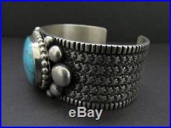Awesome Vtg GUY HOSKIE Navajo Sterling Smokey Bisbee Turquoise Cuff Bracelet