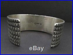 Awesome Vtg GUY HOSKIE Navajo Sterling Smokey Bisbee Turquoise Cuff Bracelet