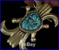 BIG Old Pawn Vintage Navajo Sand Cast Turquoise Sterling Belt Buckle by R. CHEE