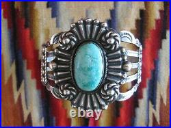 BROKE Fred Harvey TURQUOISE Coin SILVER Cuff Bracelet NATIVE AMERICAN Indian Vtg