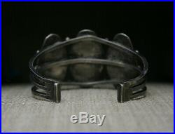 Beautiful Vintage Harvey Era Navajo Sterling Silver Petrified Wood Cuff Bracelet