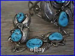 Beautiful Vintage Navajo Native American Turquoise Sterling Slave Cuff Bracelet