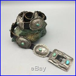 Beautiful! Vintage Turquoise and Sterling Silver Concho Belt