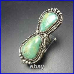 Big MIKE PLATERO Vintage NAVAJO Sterling Silver ROYSTON TURQUOISE RING size 7.5