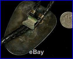 Big Vintage Old Pawn ZUNI TURQUOISE Snake Sterling BOLO TIE Original by EFFIE C