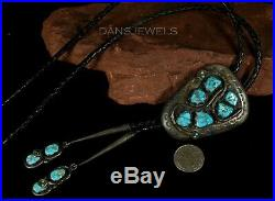 Big Vintage Old Pawn ZUNI TURQUOISE Snake Sterling BOLO TIE Original by EFFIE C