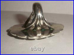 Big vintage Old Pawn Navajo Turquoise Sterling Silver Ring 8 Fred Harvey era