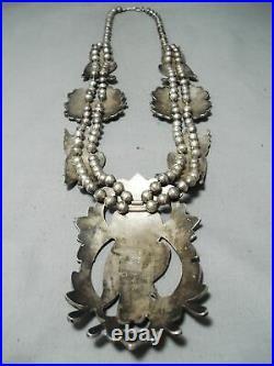 Biggest Best Vintage Zuni Turquoise Owl Sterling Silver Squash Blossom Necklace