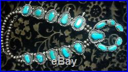 Blue Gem Turquoise Vintage Squash Blossom Necklace Jewelry Art, Signed Wolf