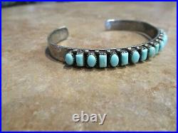 CHOICE Larger Vintage Navajo Sterling Silver Turquoise Row Bracelet