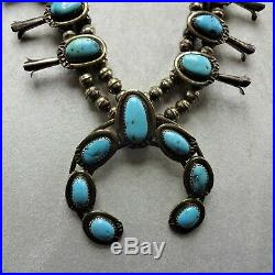 CLASSIC Vintage NAVAJO Sterling Silver MORENCI Turquoise SQUASH BLOSSOM Necklace