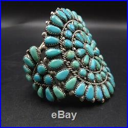 CLASSIC Vintage NAVAJO Sterling Silver TURQUOISE Cluster Cuff BRACELET 70g