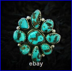 CLASSIC Vintage Old Pawn NAVAJO 925 Sterling Silver BLUE TURQUOISE Flower RING 8