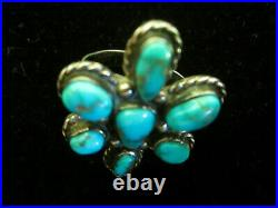 CLASSIC Vintage Old Pawn NAVAJO Sterling Silver TURQUOISE Flower Cluster RING 7