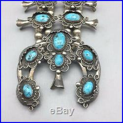 COOL-LOOKING, Vintage, Turquoise and Sterling Silver Squash Blossom Necklace