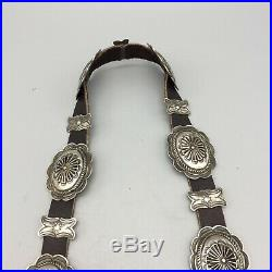 Circa 1930s, Nice, Vintage, Turquoise and Sterling Silver Concho Belt
