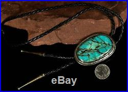 Circa 1950s Old Pawn Vintage NAVAJO Handmade Sterling SLAB Turquoise Bolo Tie