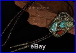 Circa 1950s Old Pawn Vintage NAVAJO Handmade Sterling Silver Turquoise Bolo Tie