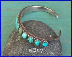 Classic Old Vintage 40's Navajo Ingot Silver Turquoise Row Cuff Bracelet