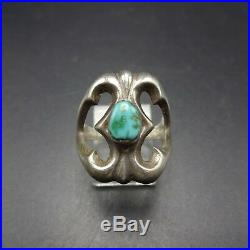 Classic Vintage NAVAJO Sand Cast Sterling Silver and TURQUOISE RING size 7.75