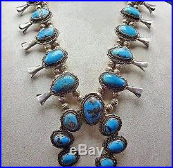 Classic Vintage NAVAJO Sterling Silver & Blue TURQUOISE Squash Blossom NECKLACE