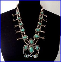 Classic Vintage NAVAJO Sterling Silver & Turquoise SQUASH BLOSSOM Necklace 178g