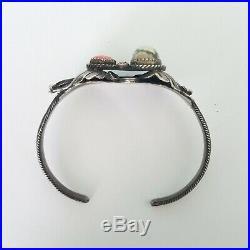 DAMELE TURQUOISE CORAL Sterling Silver Vtg Navajo Old Pawn Cuff Bracelet Signed