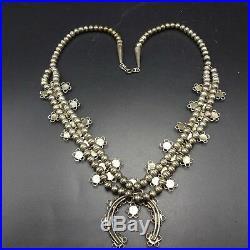 DELICATE Vintage ZUNI SterlingSilver TURQUOISE Snake Eye SQUASH BLOSSOM Necklace