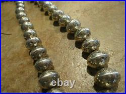 DYNAMITE Vintage Navajo Graduated Sterling PEARLS Bead Necklace with Earrings