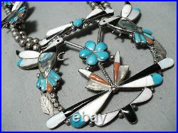 Detailed! Vintage Zuni Turquoise Sterling Silver Squash Blossom Necklace