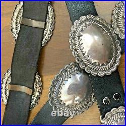 ELEGANT Versatile Vintage NAVAJO Hand Stamped Sterling Silver Domed Conchos BELT