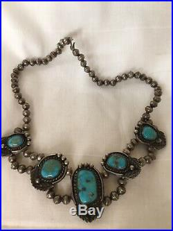 ELEGANT Vintage NAVAJO Old Pawn Sterling Silver TURQUOISE Cabochons NECKLACE